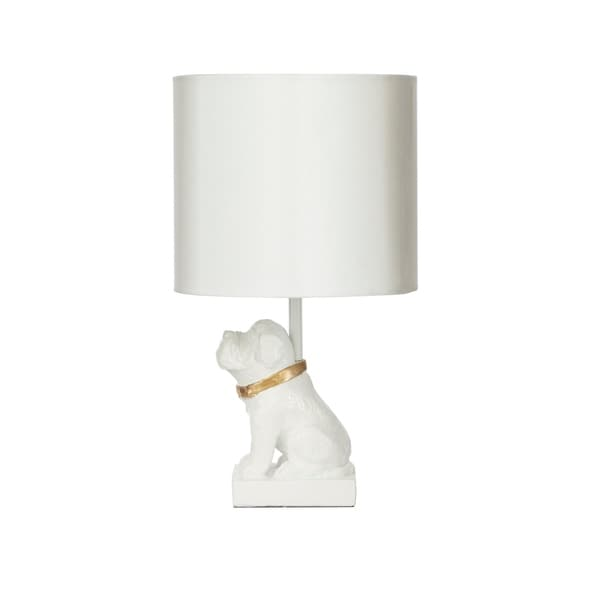 Gold Accented Dog Resin Table Lamp