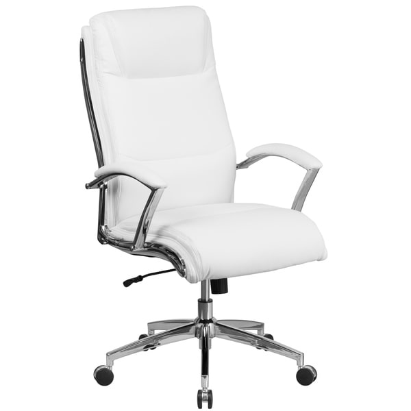 Executive High Back White Leather Adjule Swivel Office Chair With Chrome Trim And Padded Arms