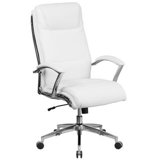 leather swivel office chair. executive high back white leather adjustable swivel office chair with chrome trim and padded arms