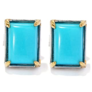 Michael Valitutti Palladium Silver Rectangular Sleeping Beauty Turquoise Stud Earrings - Blue