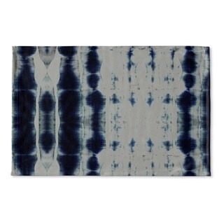 Kavka Designs Blue Shibori Stripe Flat Weave Bath mat (2' x 3')