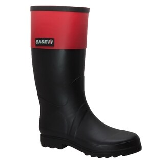 Women's Rubber Rider Boot with Red Cuff Black