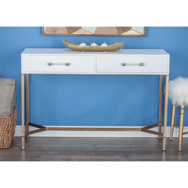 Modern 31 Inch Rectangular White 2-Drawer Console Table by Studio 350