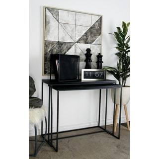Studio 350 Metal Wood Gray Console Table Set of 2