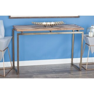 Contemporary Metal and Wood Chevron-Patterned Console Table by Studio 350