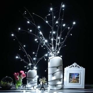 LED Solar Powered String Lights,200LED,8 Modes,72ft,White(Set of 2)