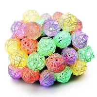 Outdoor Solar String Lights, Cymas Rattan Globe String Lights Decorative for Home, Garden