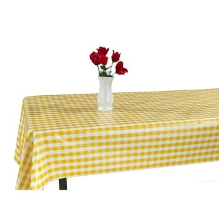 Berrnour Home Indoor & Outdoor Yellow Checkered Design Tablecloth