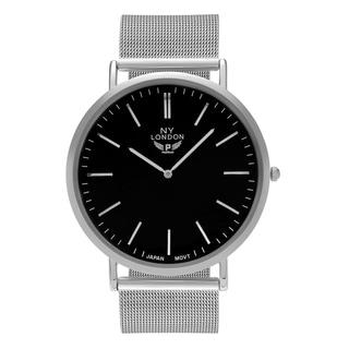 NY London Men's Silvertone Large Face Mesh Bracelet Watch