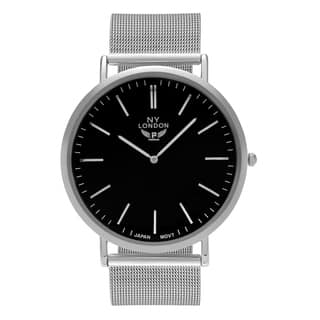 NY London Men's Silvertone Large Face Mesh Bracelet Watch|https://ak1.ostkcdn.com/images/products/17331617/P23577779.jpg?impolicy=medium