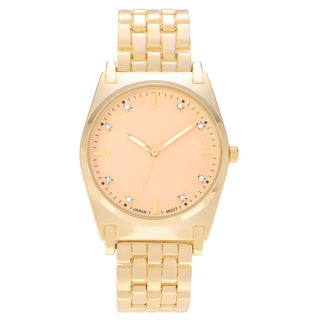 Geneva Platinum Women's Round Brushed Case Rhinestone Dial Link Bracelet Watch