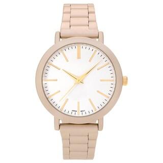 Geneva Platinum Women's Matte Round White Dial Link Bracelet Watch