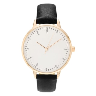 Geneva Platinum Women's Round White Dial Faux Leather Strap Watch