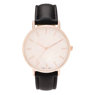 Geneva Platinum Women's Round Face Faux Mother of Pearl Strap Watch