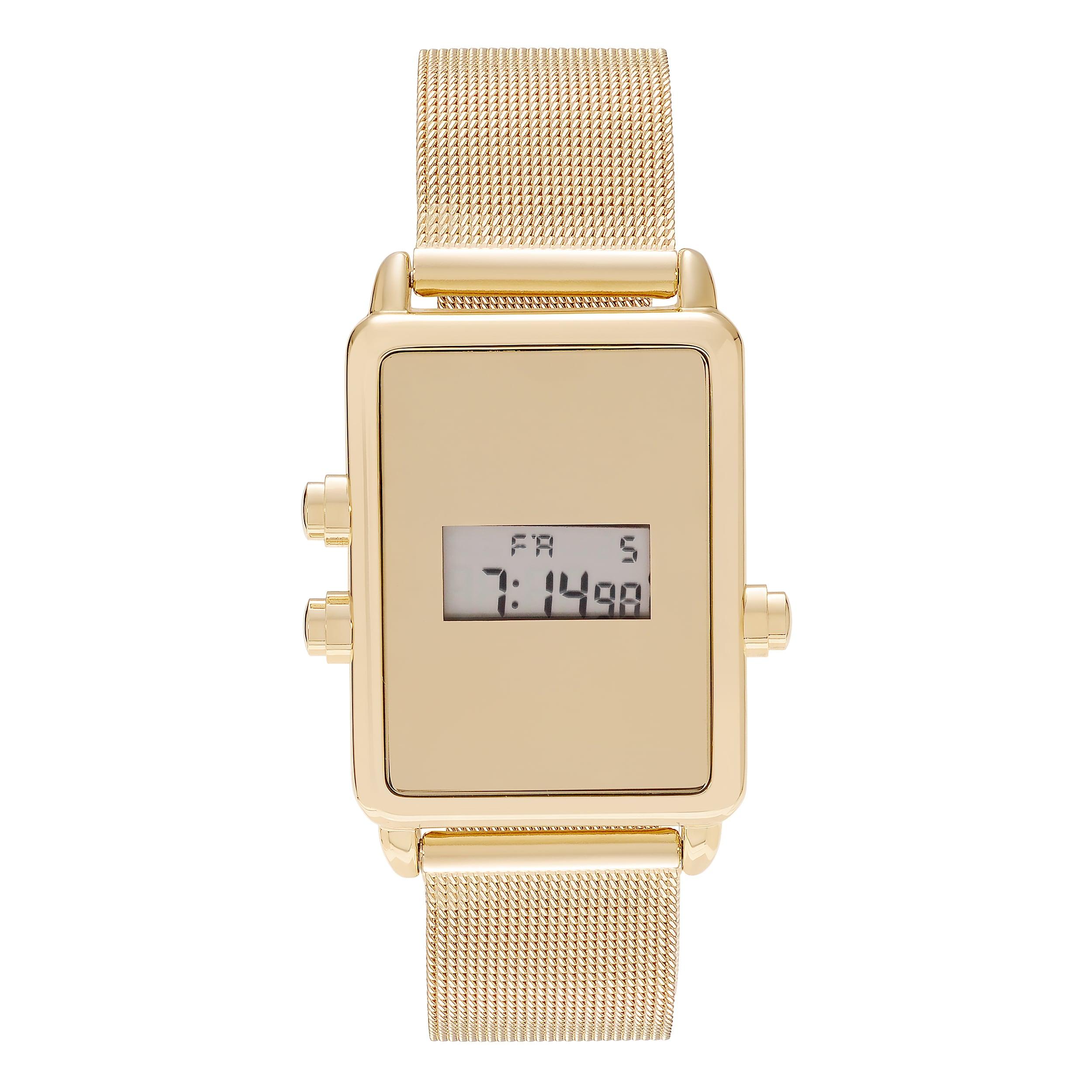 Geneva Women's Rectangle Face Digital Mesh Bracelet Watch...