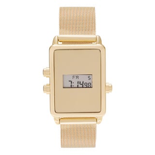Geneva Platinum Women's Rectangle Face Digital Mesh Bracelet Watch