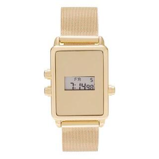 Geneva Platinum Women's Rectangle Face Digital Mesh Bracelet Watch