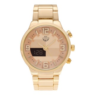 NY London Men's Analog Digital Checker Dial Link Bracelet Watch