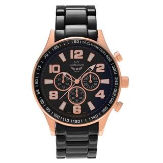 NY London Men's Round Face Tachymeter Link Bracelet Watch