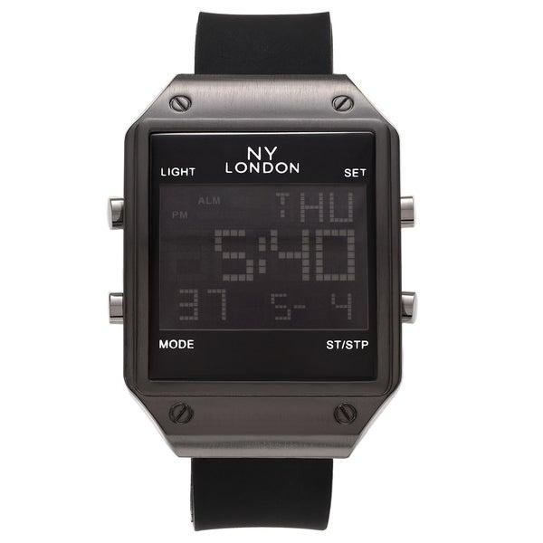 Shop Ny London Men S Square Face Digital Black Strap Watch