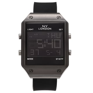 NY London Men's Square Face Digital Black Strap Watch