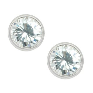 Michael Valitutti Sterling Silver Round Cubic Zirconia Stud Earrings - White