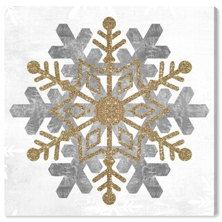 Oliver Gal 'Snow Flake Gold' Holiday and Seasonal Wall Art Canvas Print - Gold, Gray