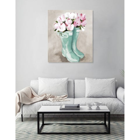 Oliver Gal 'Tulips In Spring Boots' Canvas Art - pink, teal
