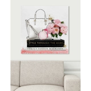 Oliver Gal 'White Purse and Essentials' Fashion and Glam Wall Art Canvas Print - Pink, White