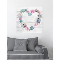 Oliver Gal  'Succulent Love' Floral and Botanical Wall Art Print on Premium Canvas