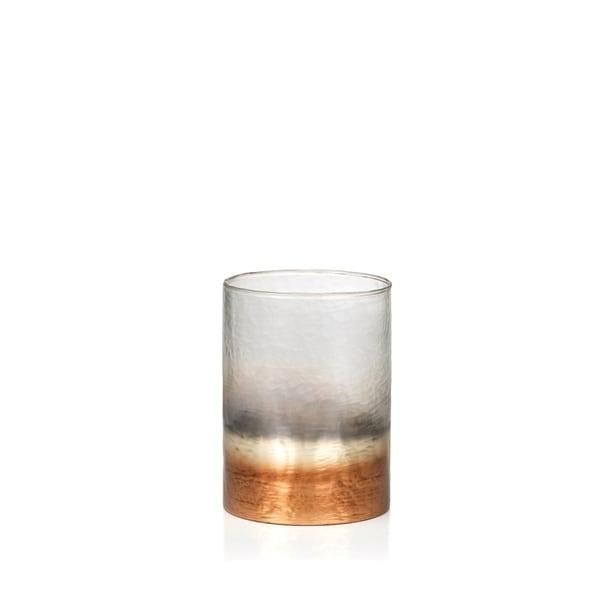 "8.5"" Tall Glass Huricane, Fire & Ice Design"