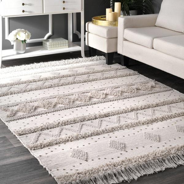 NuLoom Ivory Wool Handmade Flatweave Contemporary Tribal Stripe Tassel Rug  (5u0026#x27; ...