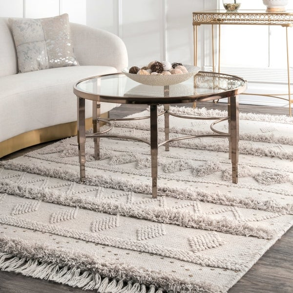 nuLOOM Ivory Wool Handmade Flatweave Contemporary Tribal Stripe Tassel Area Rug