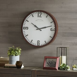 Madison Park Addie Dark Red/ Dark Brown Metal Wall Clock - Round 20 Inches