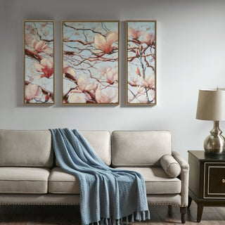 Madison Park Signature Outside My Window Pink Floral Hand Embellished Framed Canvas 3-piece set With MDF Backer