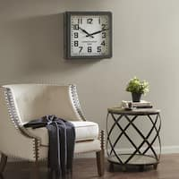 Madison Park Willow Dark Silver/ Dark Brown Metal Wall Clock - Square 18 Inches