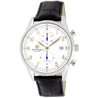 Link to Steinhausen Men's S0918 Lugano Chronograph Stainless Steel and Black Leather Dress Watch Similar Items in Men's Watches