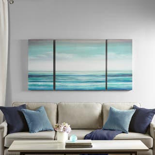 Madison Park Teal Tides Blue Coastal Gel Coat Canvas 3 Pieces Set With MDF Stretcher Bar