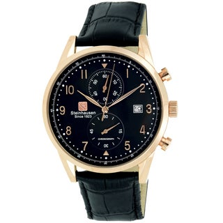 Steinhausen Men's S0919 Lugano Chronograph Stainless Steel and Black Leather Dress Watch