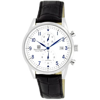 Steinhausen Men's S0920 Lugano Chronograph Stainless Steel and Black Leather Dress Watch