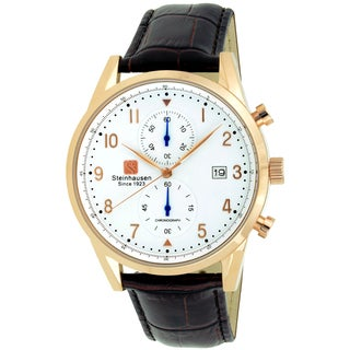 Steinhausen Men's S0921 Lugano Chronograph Stainless Steel and Brown Leather Dress Watch