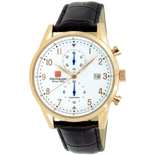 Link to Steinhausen Men's S0921 Lugano Chronograph Stainless Steel and Brown Leather Dress Watch Similar Items in Men's Watches