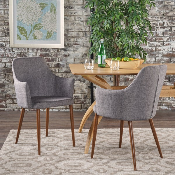 Zeila Mid-Century Modern Fabric Dining Chair (Set of 2) by Christopher Knight Home