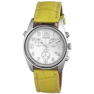 Jowissa Men's Geeen Leather Strap Swiss Quartz Chronograph Watch