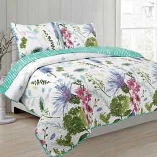 Emma's Garden 3 piece Reversible Quilt Set