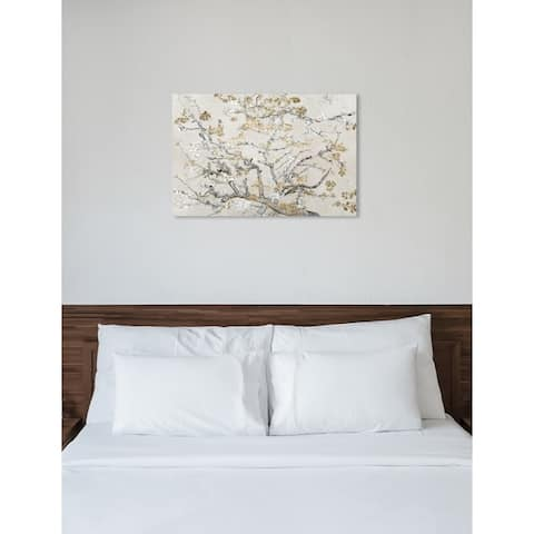 Oliver Gal 'Van Gogh in Gold Blossoms Inspiration Light' Classic and Figurative Wall Art Canvas Print - Gold, Gray