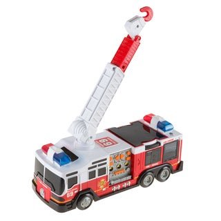 Hey! Play! Toy Fire Truck with Extending Ladder, Battery-Powered Lights, Siren Sounds and Bump-n-Go Movement