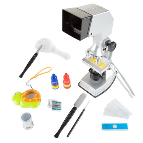 Hey! Play! Microscope 18-piece Educational Science Set, 4-Way Magnification form 100x to 900x with Projection Viewing