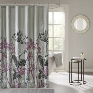"Madison Park Essentials Nicolette Printed Floral Shower Curtain (Option: 72x72"" - Purple)"
