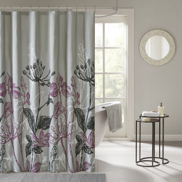 Madison Park Essentials Nicolette Printed Floral Shower Curtain
